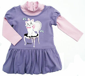 Neu-Disney-Aristocats-Marie-Ballonkleid-Kleid-Stretch-Baumwollmischung-80-86-92