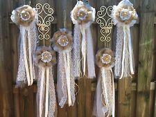 Set. 12     Rustic Vintage Tulle Burlap Bow Wedding Party  Decoration