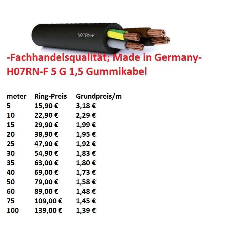 H07RN-F  5G1,5 mm² Gummischlauchleitung Gummikabel 5 G 1 5 schwarz   Ausgezeichneter Wert
