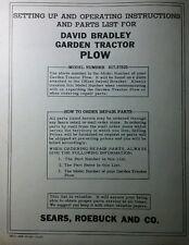 David Bradley Sears Walk Behind Tractor 91757525 Plow Owner Amp Parts Manual