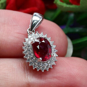 NATURAL-6-X-8-mm-OVAL-RED-RUBY-amp-WHITE-CZ-PENDANT-925-STERLING-SILVER