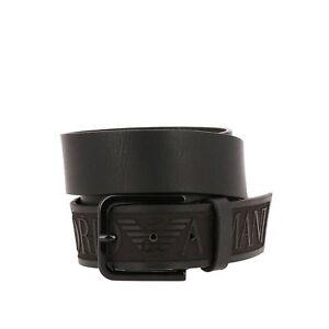 vari colori e0f5a 11e40 Dettagli su Emporio Armani Uomo Testurizzato pelle Logo in Rilievo Cintura  Nera
