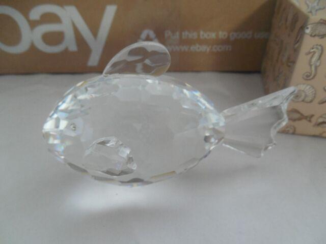 OLEG CASSINI Crystal Fat Fish Paperweight Clear #3912 NIB Signed