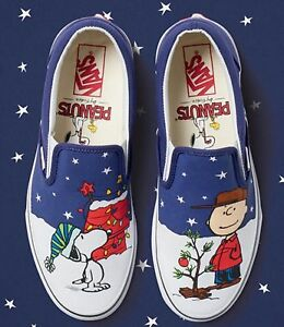8b8e35d9951 VANS snoopy christmas tree charlie brown slip on limited edition ...