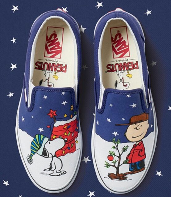united states lowest discount huge inventory VANS snoopy christmas tree charlie brown slip on limited edition peanuts  comics