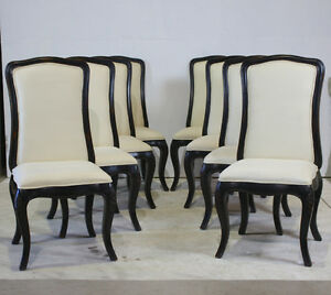 Details about Set of 4 high back dining chairs mahogany antiqued black with  off white fabric
