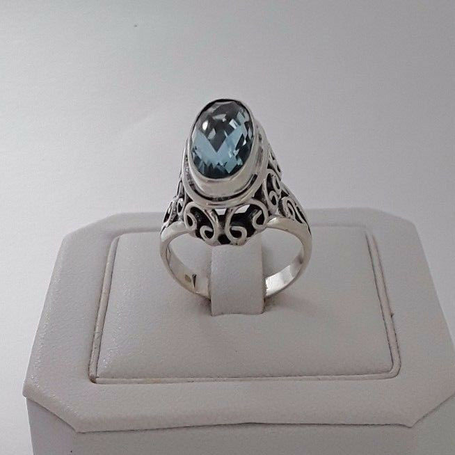 AGNES CREATIONS   BELLE BAGUE FEMME EN silver 925 ORNEE TOPAZE blueE size 52