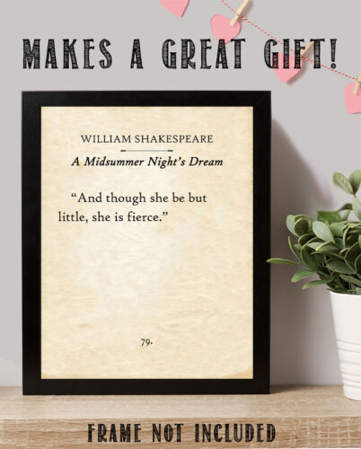 And Though She Be Little 11x14 Unframed Typography Book William Shakespeare