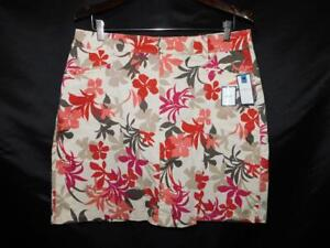 Croft-amp-Barrow-14-NWT-Beige-Red-Floral-Skort-Skirt-Shorts-Above-Knee-Cotton-NEW