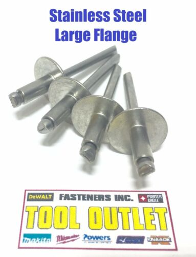 "1//8/"" x 1//8/"" Grip ALL Stainless Steel Large Flange POP Rivet 42LF Qty 100"
