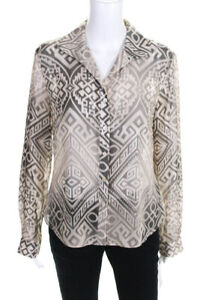 Lafayette-148-New-York-Womens-Silk-Button-Down-Blouse-Brown-Beige-Size-10