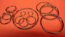 12 ASSORTED  Split Key Rings - Nickel Plated Steel