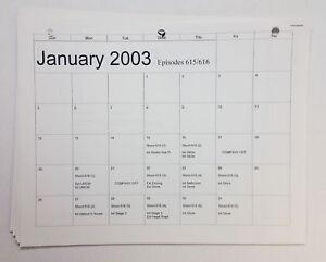 DAWSON-039-S-CREEK-set-used-paperwork-PRODUCTION-CALENDAR-Jan-Feb-2003-shooting