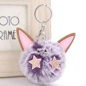 Women Fluffy Jewelry Plush Keychain Key Buckle Cat Key Ring Faux Rabbit Fur