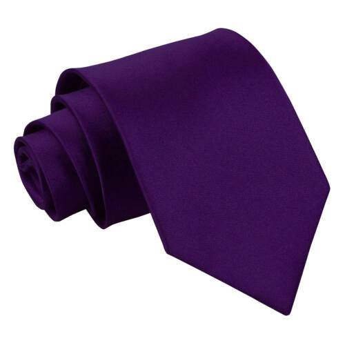 DQT Satin Plain Solid Purple Classic Slim Skinny Tie Hanky Cufflinks