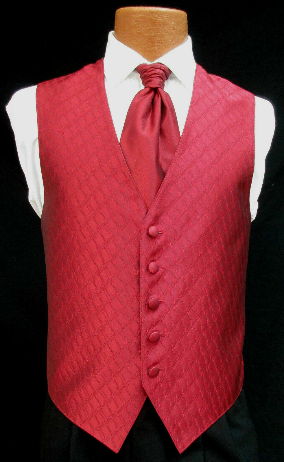 Mens XL Long Deep Red Spectrum Fullback Tuxedo Vest Tie & Pocket Square X-Large