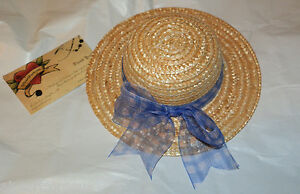 American-Girl-STRAW-HAT-PERIWINKLE-CHECKED-BLUE-SHEER-BOW-RETIRED-AGOT-New