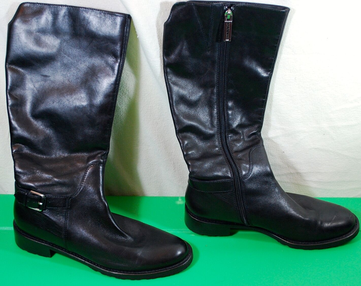 Calvin Klein  EQUESTRIAN Boots Rumer Black Riding Boots  Leather Size 7.5 M