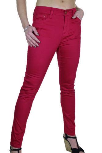 NUOVO Casual Elastico jeans attillati chino Sheen Rosso Rosa Taglia 10 1478-3