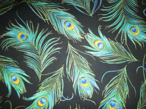 PEACOCK FEATHERS BLUE GREEN METALLIC GOLD BLACK FEATHERS COTTON FABRIC FQ