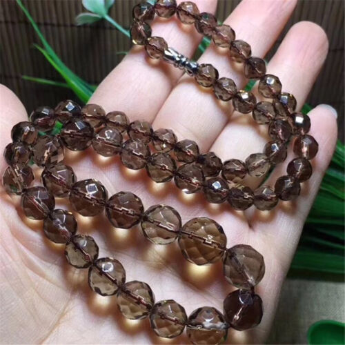 Genuine 64 Cut Faceted Natural Tea Brown Smoky Quartz Crystal Beads Necklace