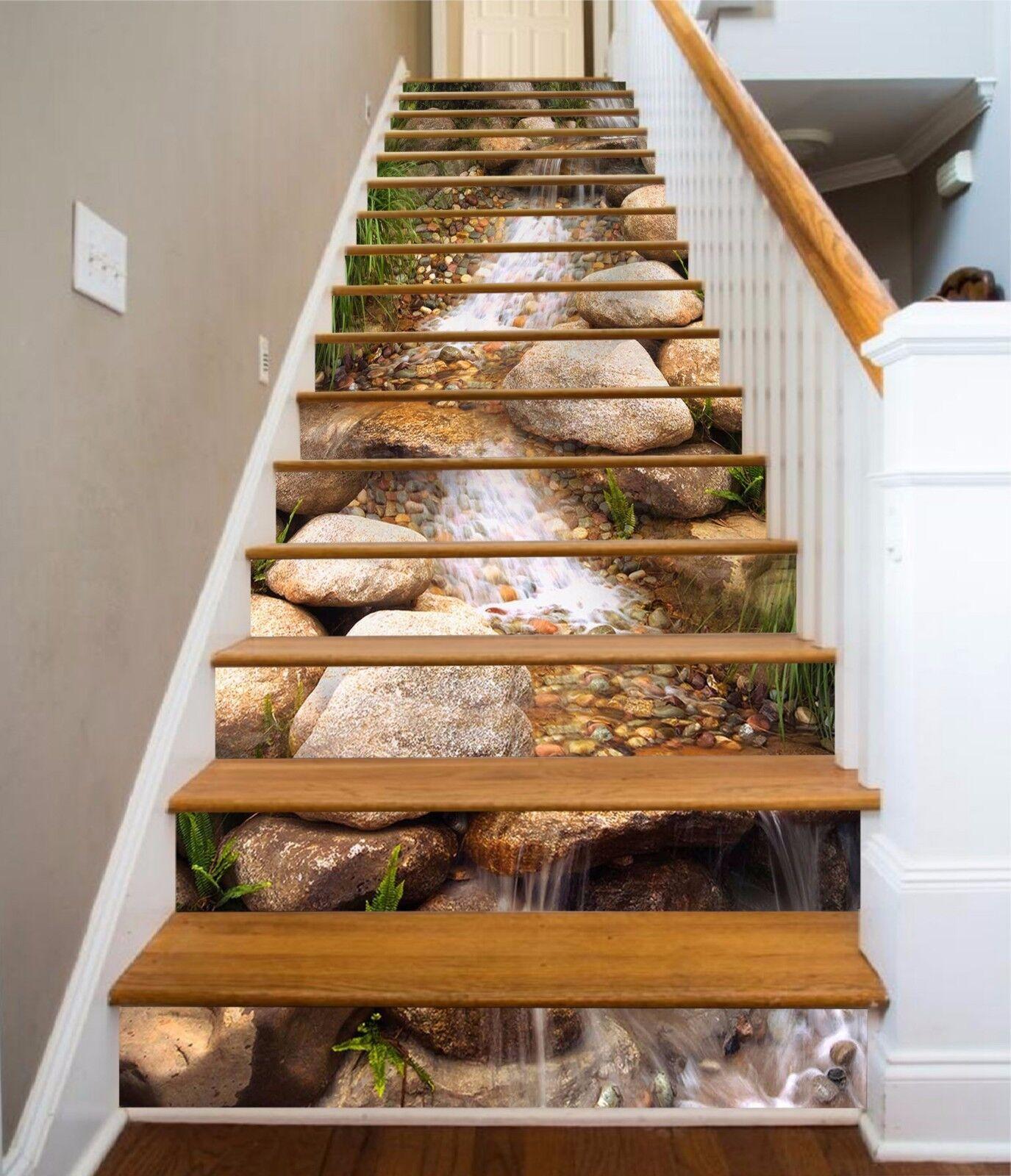 3D Stone creek 35 Stair Risers Decoration Photo Mural Vinyl Decal Wallpaper UK