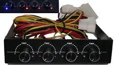 "4x Port FAN SPEED CONTROLLER 3.5"" Black Aluminum PC NEW"