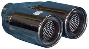 """TWIN 3"""" Exhaust Tip Stainless Steel, Double Skin, 2.25"""" Inlet NEW (A01-063)"""