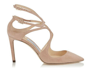 delicate colors nice cheap classic shoes Jimmy Choo Lancer 100 Strappy Pumps Heels Beige Nude Suede Shoes ...