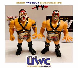 WWF-WWE-Retro-Tag-Team-Wrestling-cinturones-Set-para-Hasbro-Mattel-Jakks-figuras