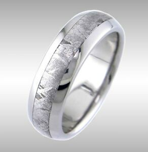 a84d5b23d84d6 Details about CUSTOM MADE IN USA #101 TITANIUM & REAL GIBEON METEORITE RING  WEDDING BAND