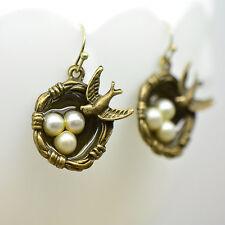 Bird Nest Earrings, Antique Bronze Finish, Vintage Style Charm Pendant Earring