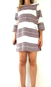 White-Stuff-Embroidered-Tunic-Shift-Burgundy-Ivory-Striped-Dress-Pockets-Size-16