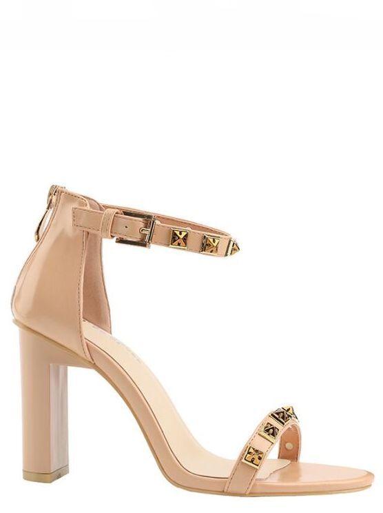 Sandalen Stilett Elegant 9.5 cm Beige Leder Kunststoff Elegant 9080