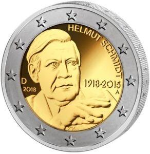 2 Euro Münze Brd 100 Geburtstag Helmut Schmidt 2018 Top