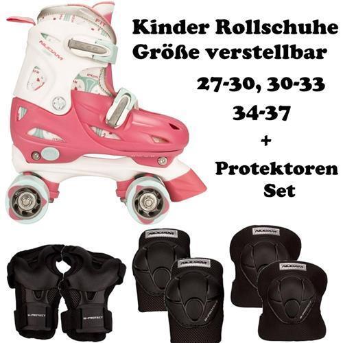 KINDER ROLLSCHUHE + SCHÜTZER SET Girls Skates Rosa Rosa Skates Größen verstellbar e2d3d4