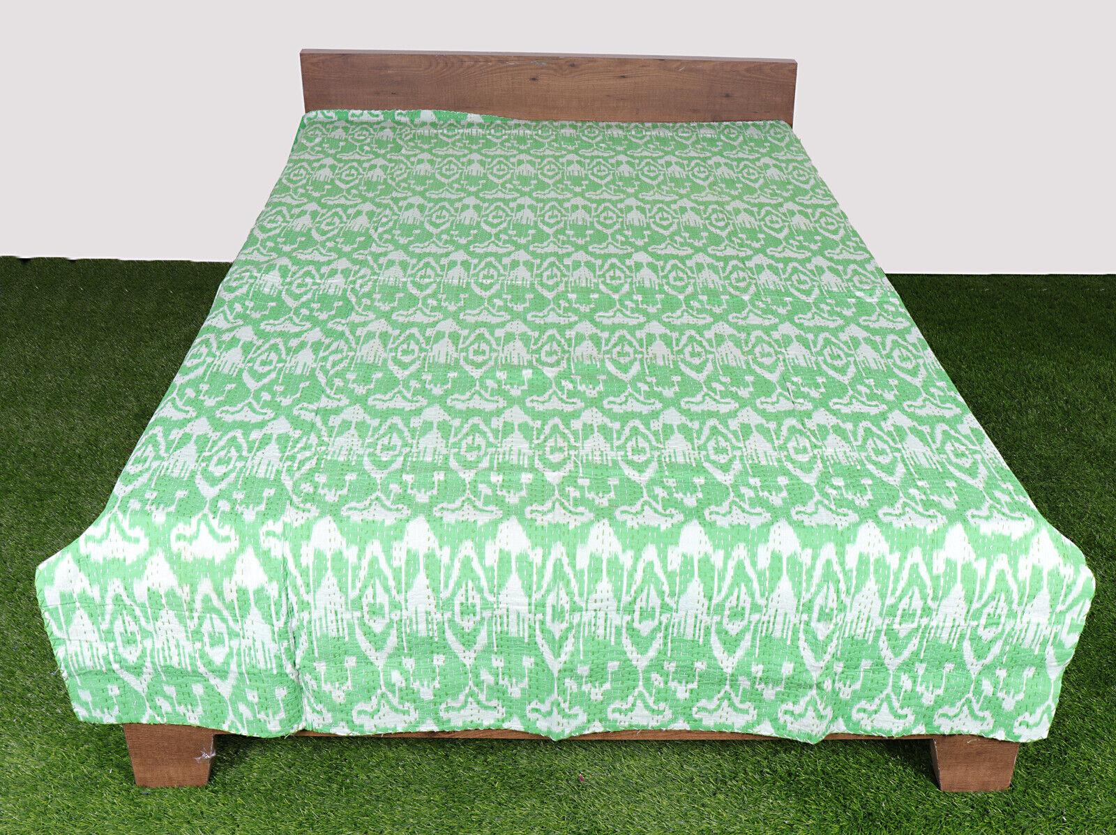 Kantha Quilt Bedsheet Handmade Bedcover Cotton Twin Size Green Throw Bedspread