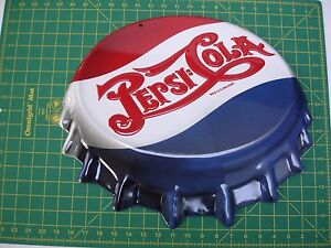 7e5816cebdac Details about Pepsi-Cola Die Cut Embossed Bottlecap Ande Rooney Sign 18