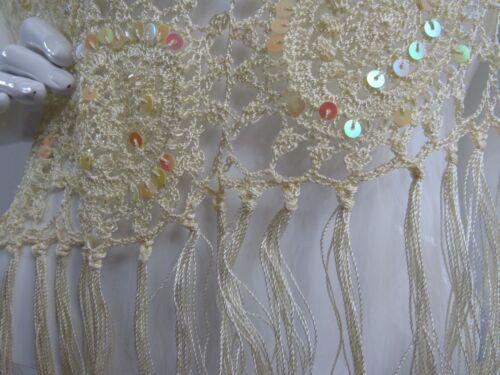 dettaglio frangia 195 Landau Nwt a Sz Crochet con paillettes Adrienne Poncho giallo maglia lavorato One 8pqxpwRv