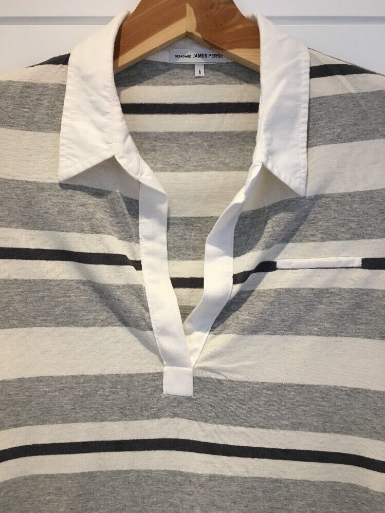 JAMES PERSE PERSE PERSE Navy bluee White Striped Cotton Dress 3 4 Long Sleeve Size 1 S Small 2249ef