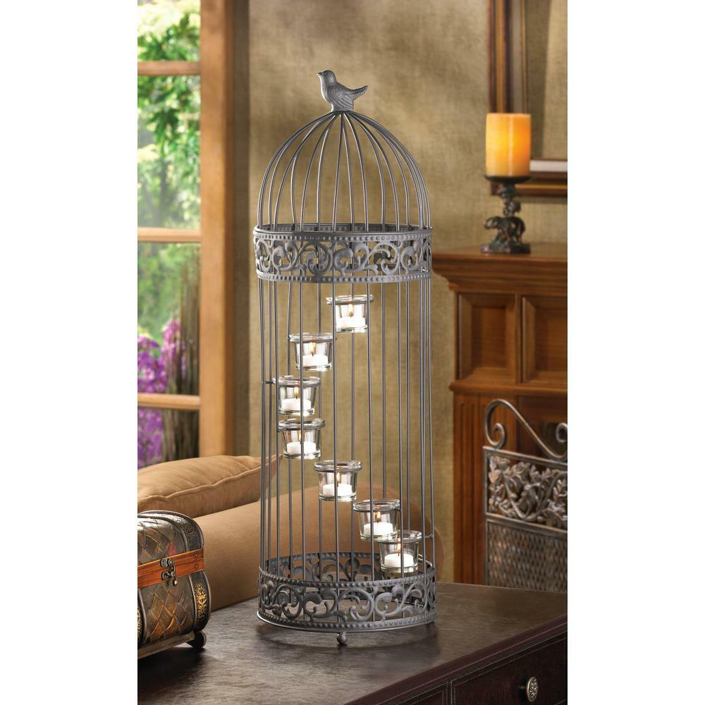 Bird Cage Spiral Staircase Tealight Candle Holder Country Candelabra Centerpiece