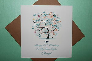 Handmade personalised floral tree 40th 50th 60th birthday card mum image is loading handmade personalised floral tree 40th 50th 60th birthday bookmarktalkfo Image collections