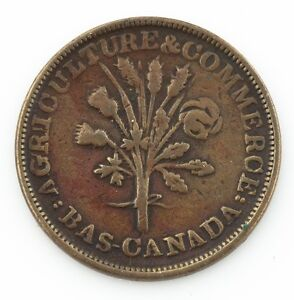 TRADE-amp-AGRICULTURE-LOWER-CANADA-BANK-OF-MONTREAL-TOKEN-UN-SOUS-VERY-FINE-COPPER