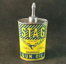 Vintag STAG FRIGIDIZED GUN OIL HANDY OILER LEAD TOP Rare Old Advertising Tin Can