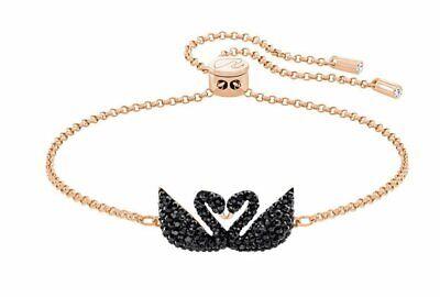 Swarovski Crystal Black Rose Gold Plated Iconic Swan Bolo Bracelet 5344132