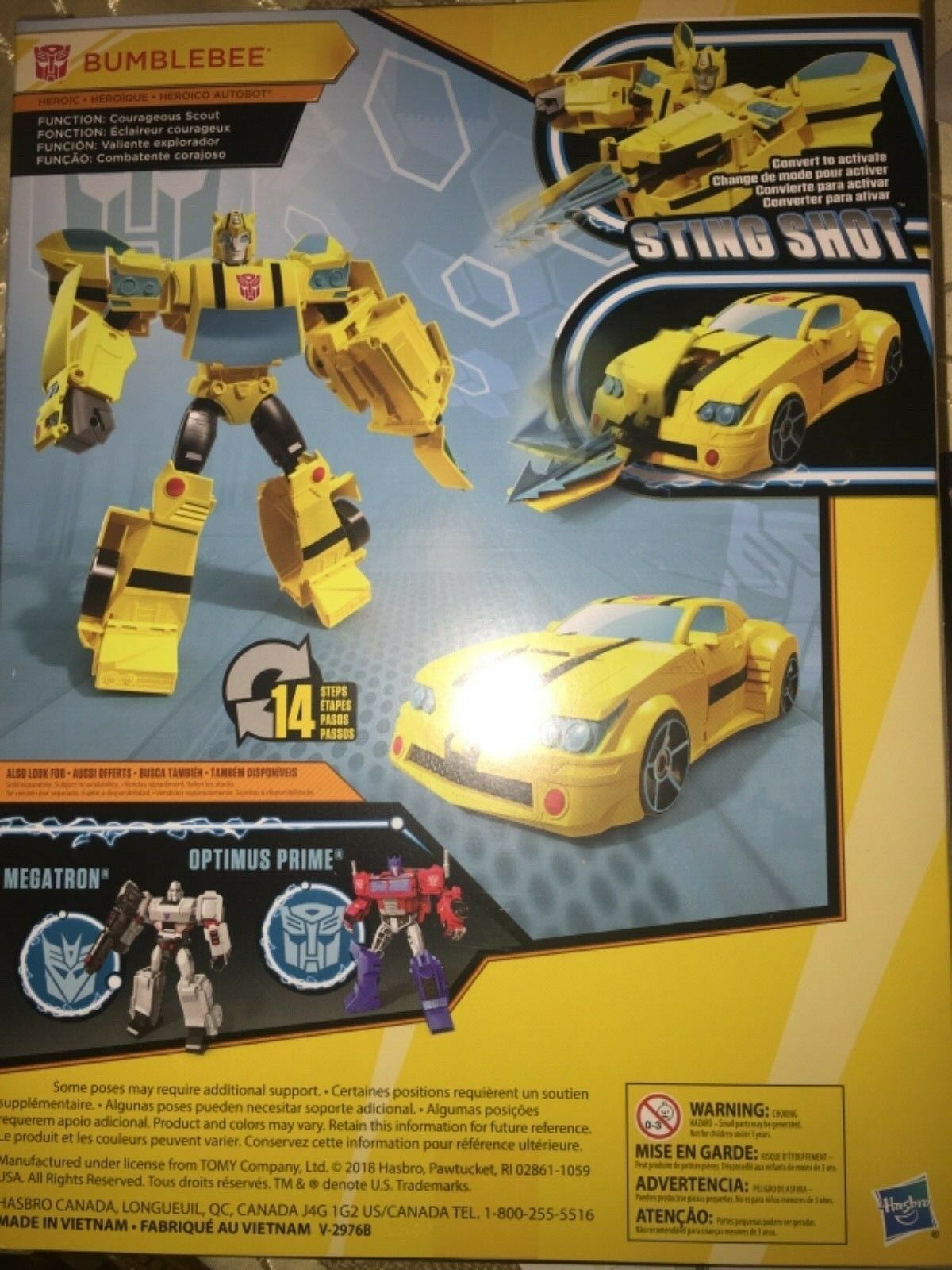 New Transformers Cyberverse Bumblebee Sting Shot 10 inches tall