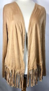 Rue-21-Woman-039-s-Brown-Fringe-Suede-Like-Long-Sleeve-Cardigan-Size-L-XL