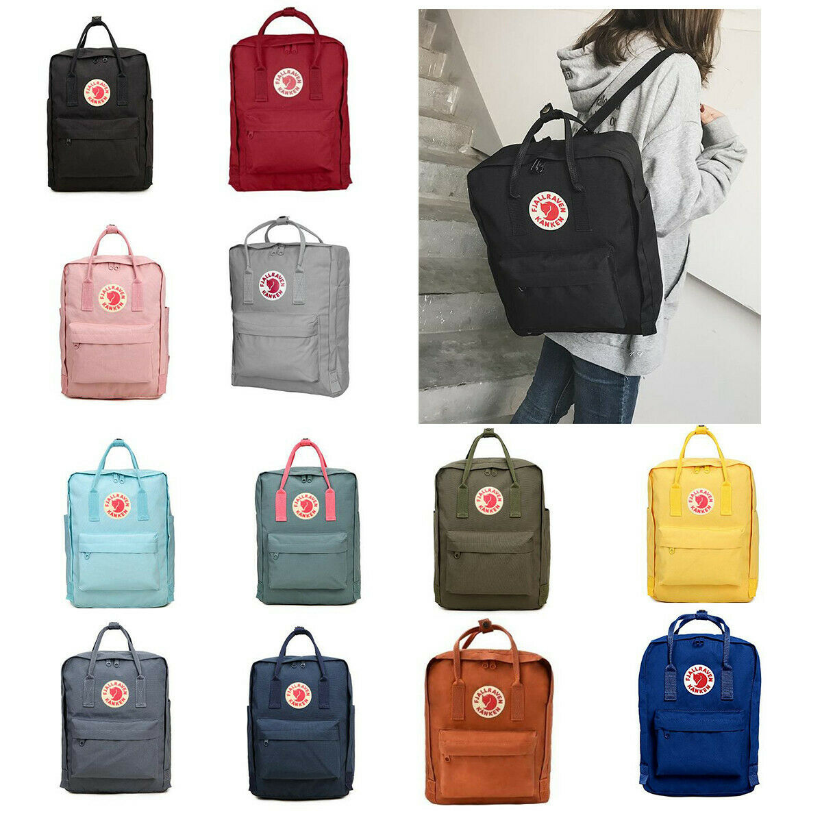Waterproof Fjallraven Kanken0 Sport Backpack Canvas Travel Bag 7L/16L/20L 3