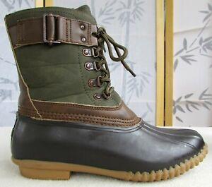 9-M-JBU-Nova-Scotia-Women-Olive-Brown-PU-Rubber-Weather-Ready-Water-Duck-Boot