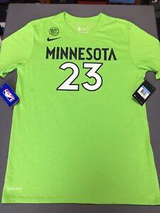 super popular 0e244 3359d Details about NWT Nike NBA Minnesota Timberwolves Jimmy Butler T Shirt Sz  MEDIUM M Neon Green